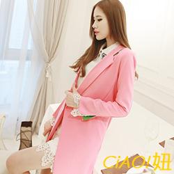 粉嫩春感雪紡長版西裝外套 (共二色)-CiAO妞