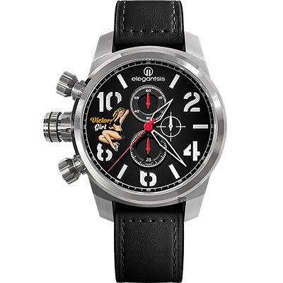 elegantsis JF48QS機頭藝術-女郎計時手錶-黑/48mm