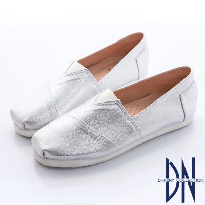 DN-經典不敗-素面金蔥V字設計懶人便鞋-銀