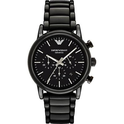 Emporio Armani Classic 陶瓷三眼計時腕錶-黑x44mm