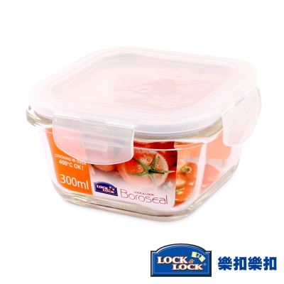 樂扣樂扣 第二代耐熱玻璃保鮮盒-正方形300ML(8H)