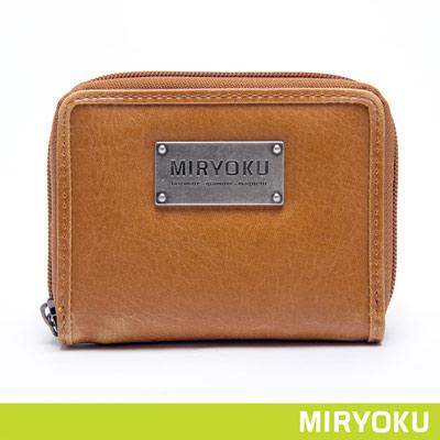 MIRYOKU-經典復古皮革系列 / 個性簡約拉鍊短夾-駝