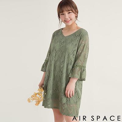 AIR SPACE PLUS 枝葉蕾絲圓領喇叭袖洋裝(綠)