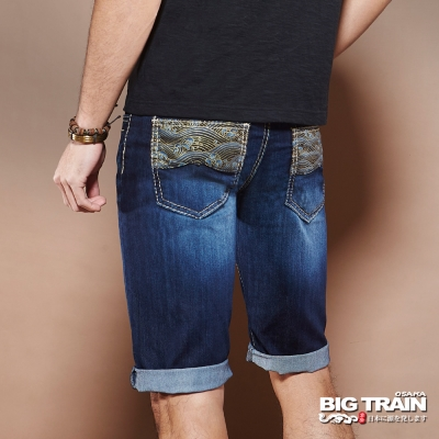 BIG TRAIN 浪花和柄短褲-男-深藍