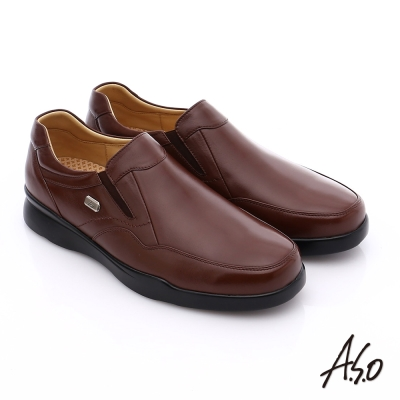 A.S.O 厚切氣墊 真皮直套式鬆緊帶奈米皮鞋 咖啡色