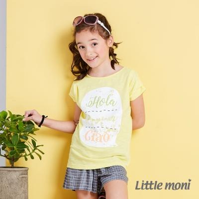 Little moni 清新女孩落肩短袖上衣 黃色