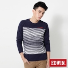 EDWIN 中段反面條紋剪接長袖T恤-男-丈青