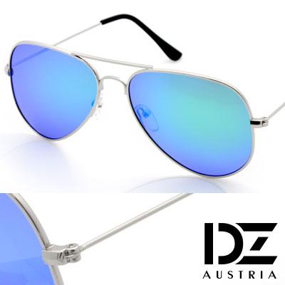 【2件59折】DZ 復古饗宴 抗UV 偏光 太陽眼鏡墨鏡(銀框藍綠膜)