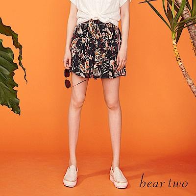 beartwo 異素材側邊條花漾短褲裙(藍色)