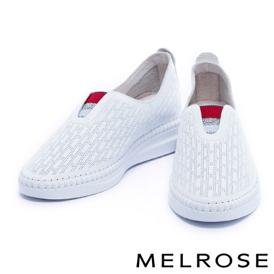 休閒鞋 MELROSE 運動風配色織帶全真皮厚底休閒鞋-白