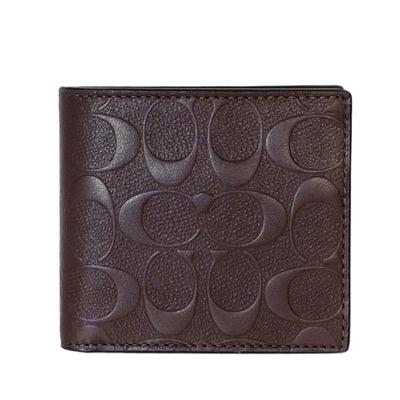COACH深咖啡荔枝紋皮革浮印C Logo四卡零錢袋男夾