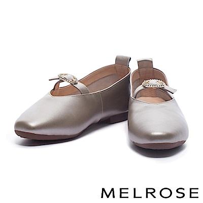 娃娃鞋 MELROSE 復古亮眼金鑽釦設計光澤牛皮娃娃鞋-米