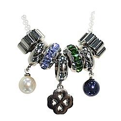 Brosway 施華洛世奇水鑽不鏽鋼項鍊 黑白珍珠/幸運草