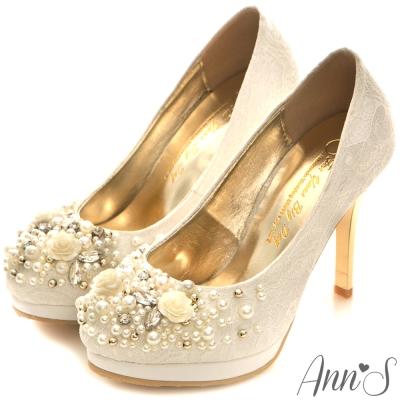 Ann'S Bridal柔美蜜戀蕾絲訂製婚鞋 白