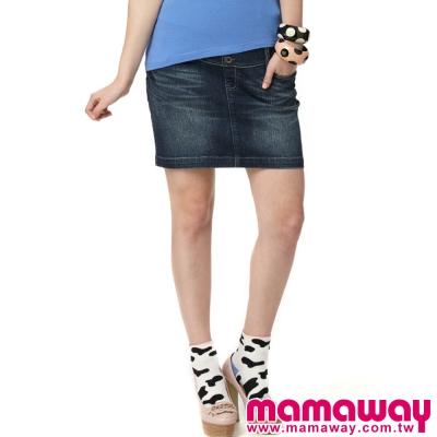 Mamaway-孕期牛仔裙-刷白藍