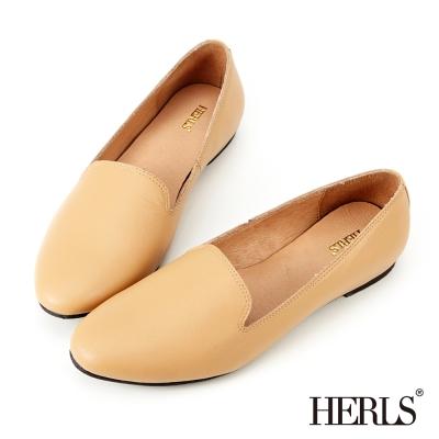 HERLS-全真皮-極緻品味-素面-樂福鞋-駝色