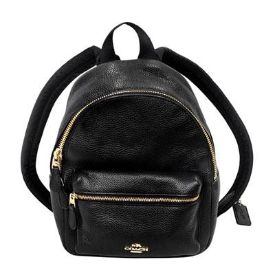 COACH黑色荔枝紋全皮金字飾牌前口袋雙肩後背包(小)