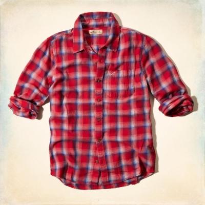Hollister HCO 長袖 襯衫 紅色 0152