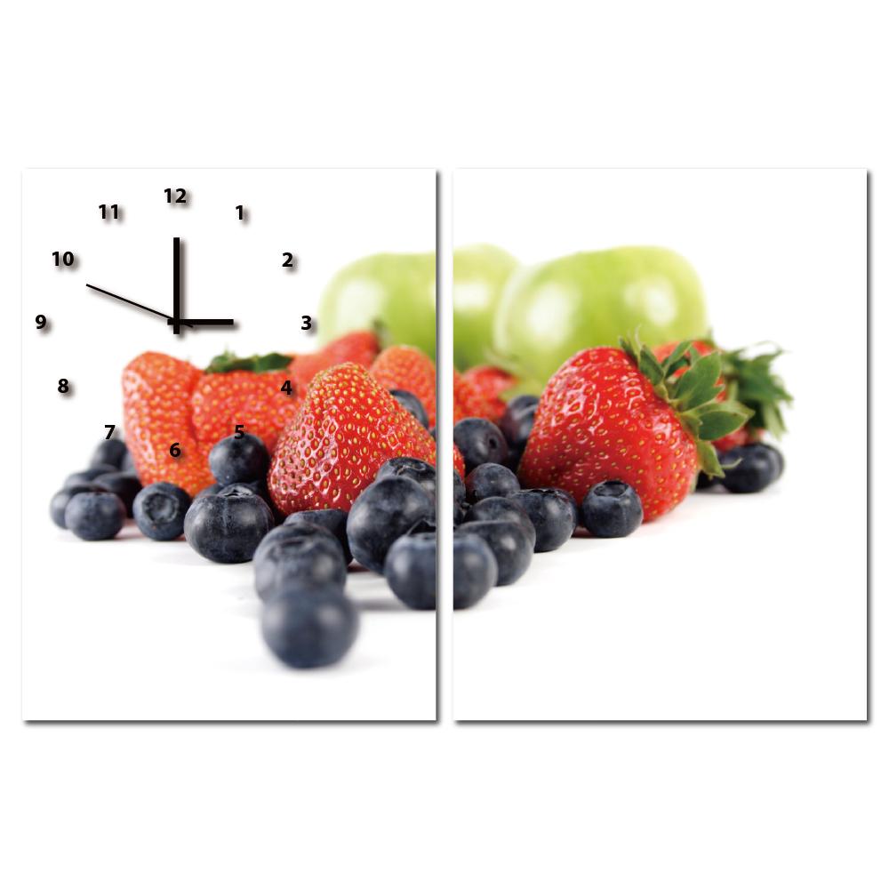 24mama掛畫-二聯直幅水果蛋糕餐廳烘焙店日本機芯時鐘無框畫掛畫-總匯-30x40cm