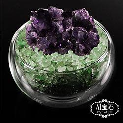 A1寶石  日本頂級天然紫水晶花/綠水晶聚寶盆-招財轉運居家風水必備(含開光加持)