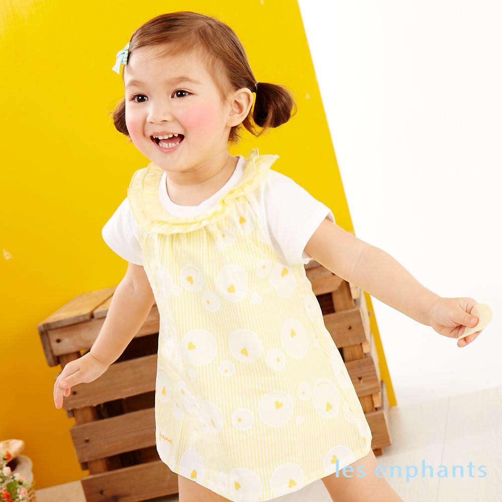 麗嬰房les enphants baby蜜糖甜心大圓點連身裝淺黃
