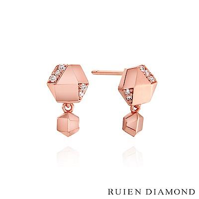 RUIEN DIAMOND 韓國輕珠寶 飾品 配件14K玫瑰金 耳環 LE128