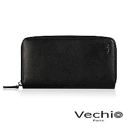 VECHIO-紳士商務款II-經典素面拉鍊長夾-時尚黑