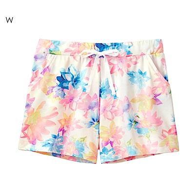 aimerfeel 夏日陽光花朵防曬抗UV短褲-白色