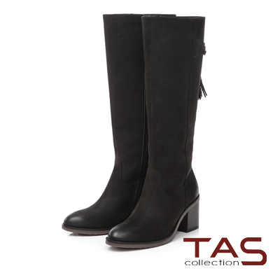 TAS 後綁帶流蘇擦色高跟長靴-個性黑