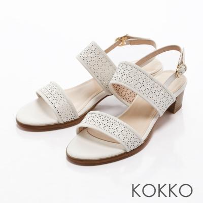 KOKKO-環帶蕾絲雕花粗跟真皮後帶涼鞋-純真白