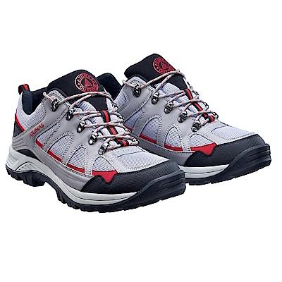 【ATUNAS 歐都納】男款休閒透氣耐磨短筒登山健行鞋GC-1611灰/黑