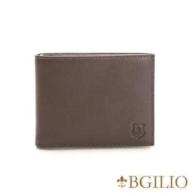 義大利BGilio - NAPPA軟牛皮經典簡約短夾-咖啡色 1605.308B-03