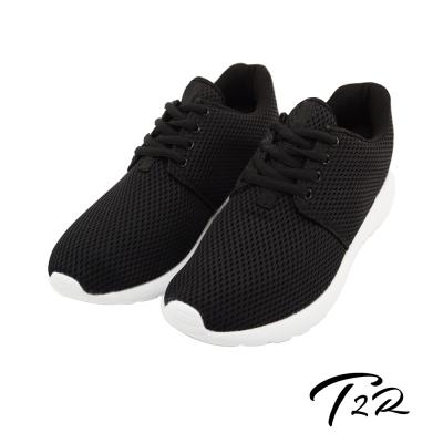【T2R】韓國空運透氣網布空氣增高鞋 ↑6cm 經典黑-男鞋