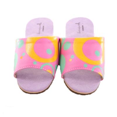 防滑靜音皮拖鞋(2雙一組) 粉底綠黃圈 sd0045魔法Baby
