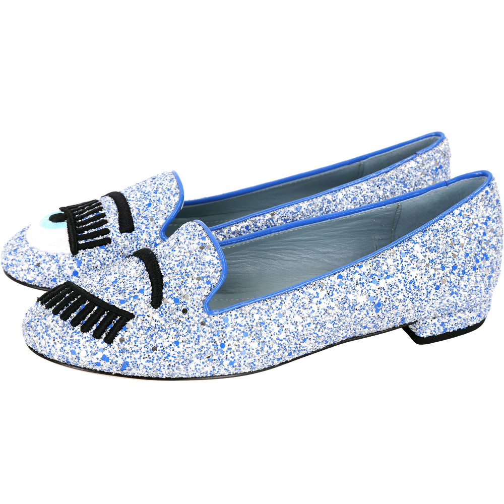 Chiara Ferragni Flirting 刺繡眨眼亮片樂福鞋(藍x白)