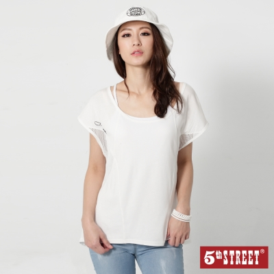 5th STREET 寬版剪接網布短袖T恤-女-米白