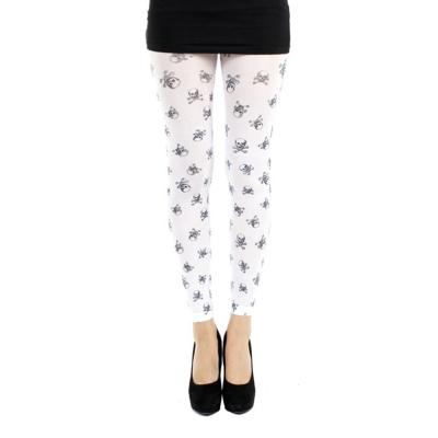 摩達客Pamela Mann英國進口義大利製可愛小骷髏 內搭褲九分褲襪/無足褲襪