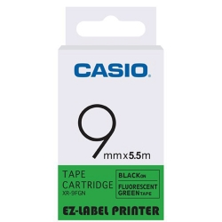CASIO  標籤機專用特殊色帶-9mm(瑩光色材質)瑩光綠底黑字-XR-9FGN1