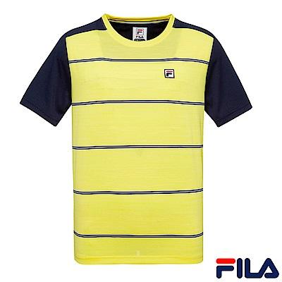FILA 男經典條紋圓領T恤-黃 1TES-1012-YE
