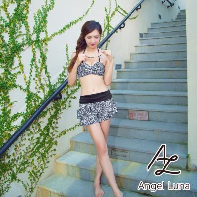 【AngelLuna日本泳裝】微透條紋印花四件式比基尼-白豹紋