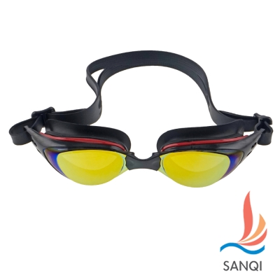 SANQI三奇 抗UV防霧休閒泳鏡(1603-黑紅F)
