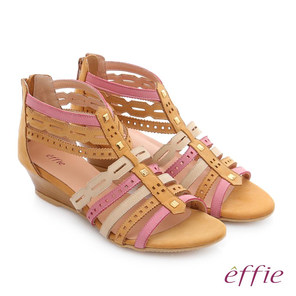 effie 嬉皮假期 小坡跟彩色羅馬楔型涼鞋 卡其色