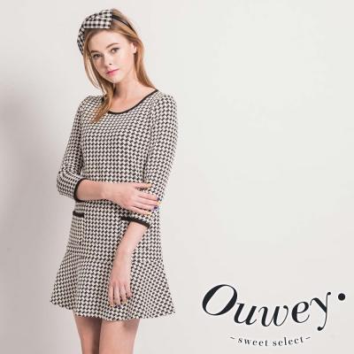 OUWEY歐薇-千鳥格紋彈性布洋裝