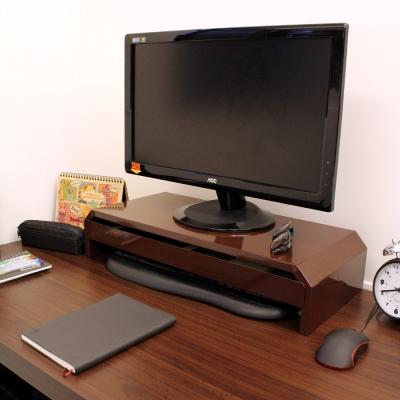 頂堅鐵板製桌上型-抽屜-螢幕架置物架二色可選-2入組