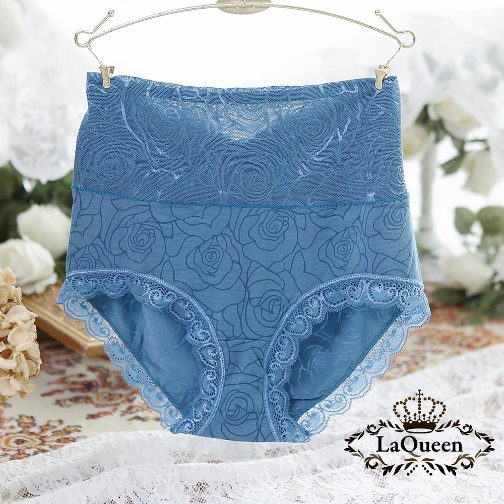 內褲  玫瑰花紋親膚蠶絲高腰內褲-藍 La Queen