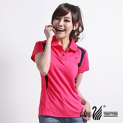 【遊遍天下】MIT台灣製女款吸濕排汗抗UV機能POLO衫S063玫紅/丈青