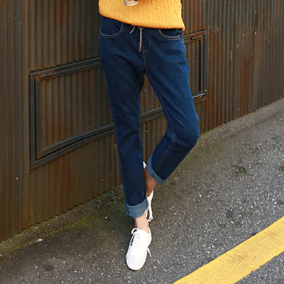 正韓 加厚鬆緊裝飾綁繩牛仔褲 (深藍色)-N.C21