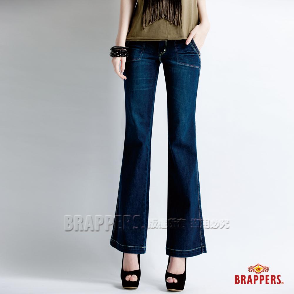 BRAPPERS 女款 新美腳 Royal 系列-女用彈性寬版大喇叭褲-藍