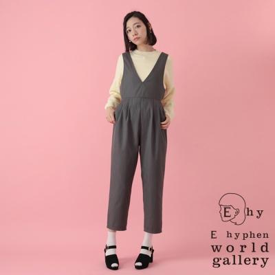 E-hyphen-簡約V領收腰連身褲