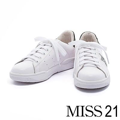 休閒鞋 MISS 21 閃耀星星全真皮運動風厚底休閒鞋-白